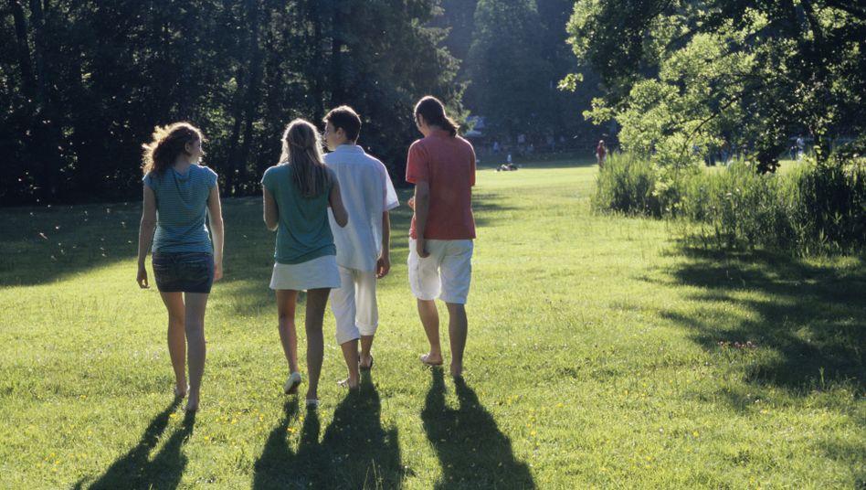 Junge Leute im Park: Im Ausland sollte man sich auch mit Einheimischen anfreunden