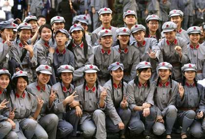 """College students dressed as Red Army soldiers: """"We have faculties of Marxism, political sciences, religion, Chinese philosophy, etc."""""""
