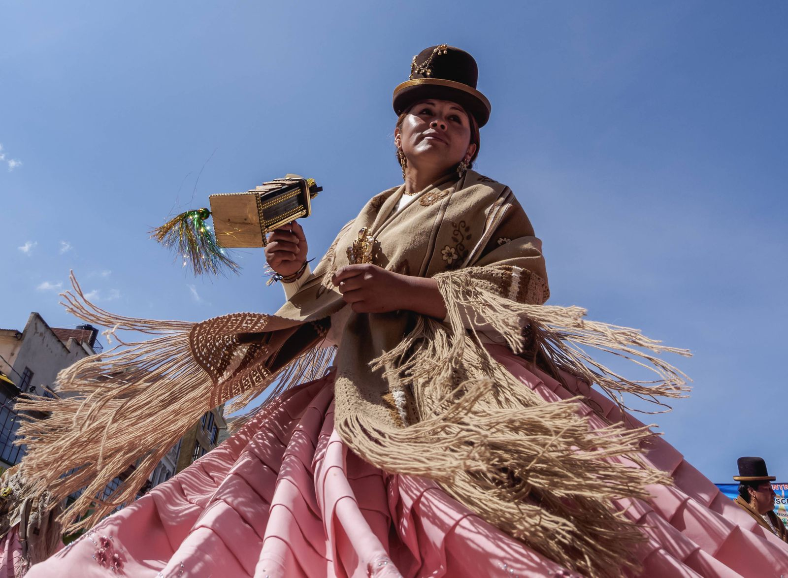 Dancer in traditional costume Fiesta de la Virgen de la Candelaria Copacabana La Paz Department