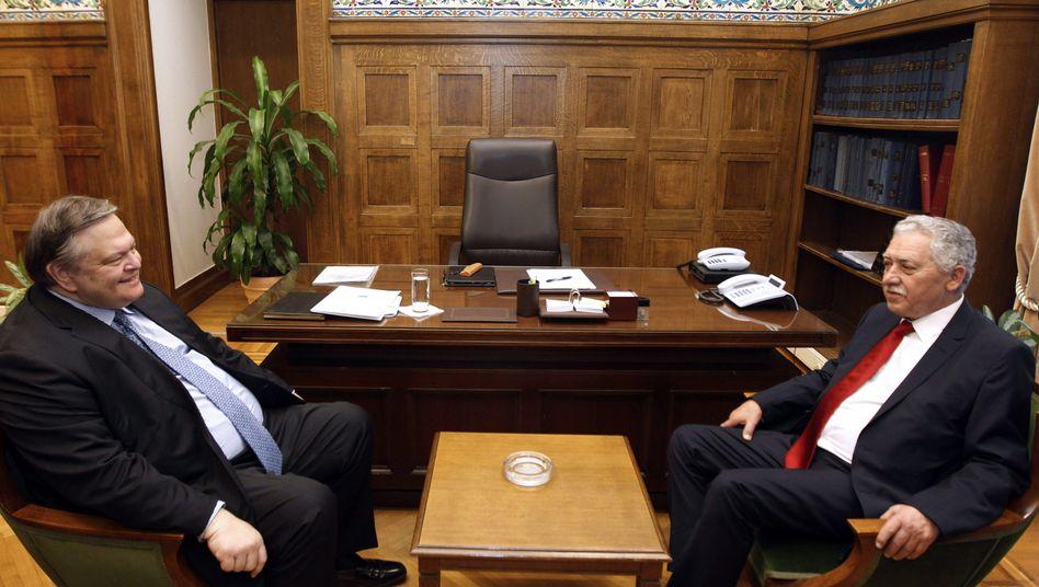 Juniorpartner für Antonis Samaras: Evangelos Venizelos und Fotis Kouvelis im Parlament