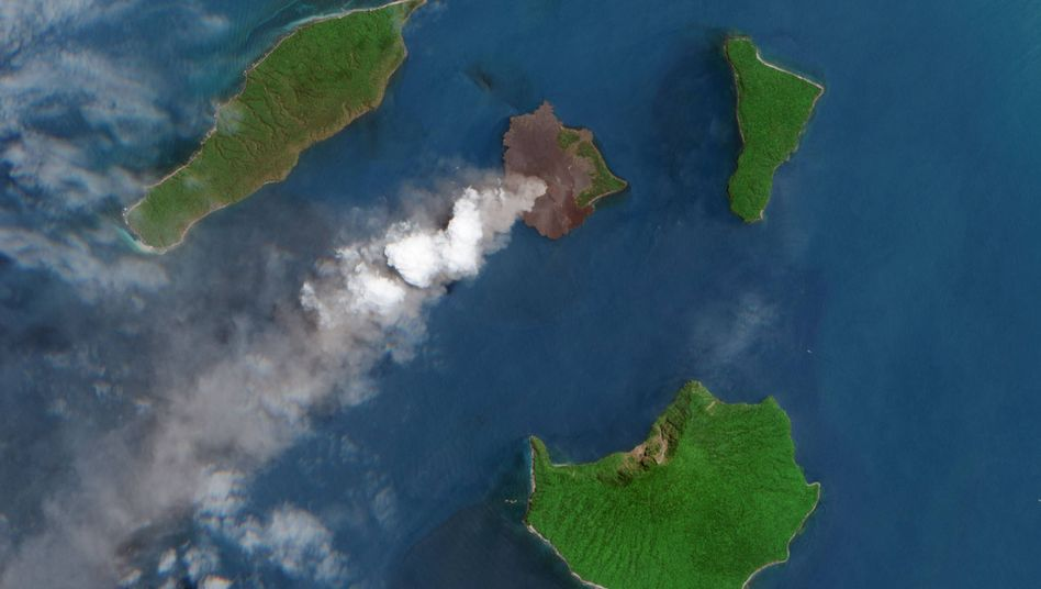 Satellitenbild des Anak Krakatau aus dem Jahr 2018