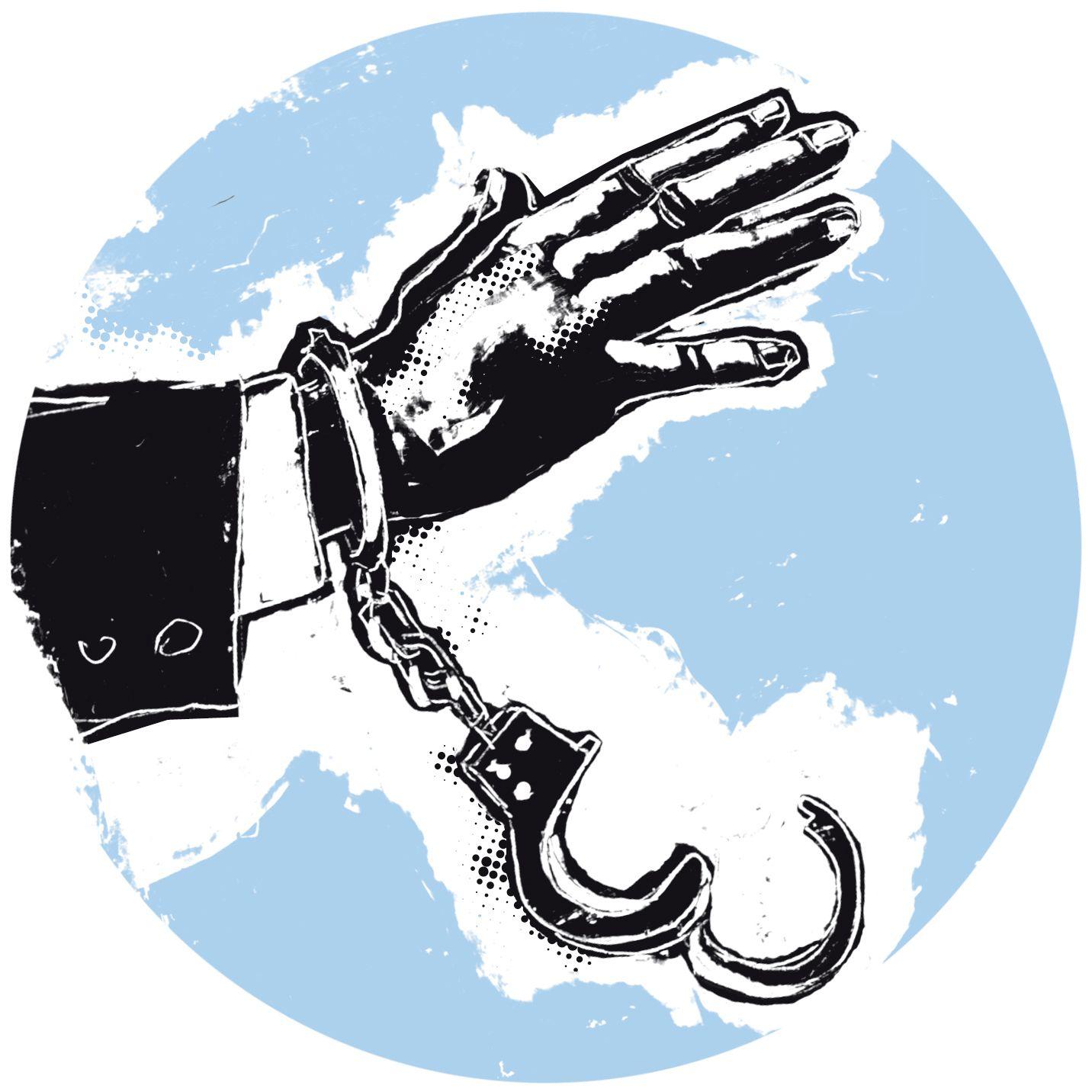 EINMALIGE VERWENDUNG Arbeitsrecht, Hand mit Handschellen