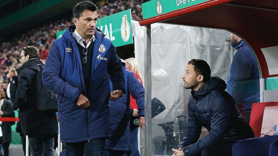Trainer Tedesco (rechts) mit Schalke-Sportvorstand Christian Heidel