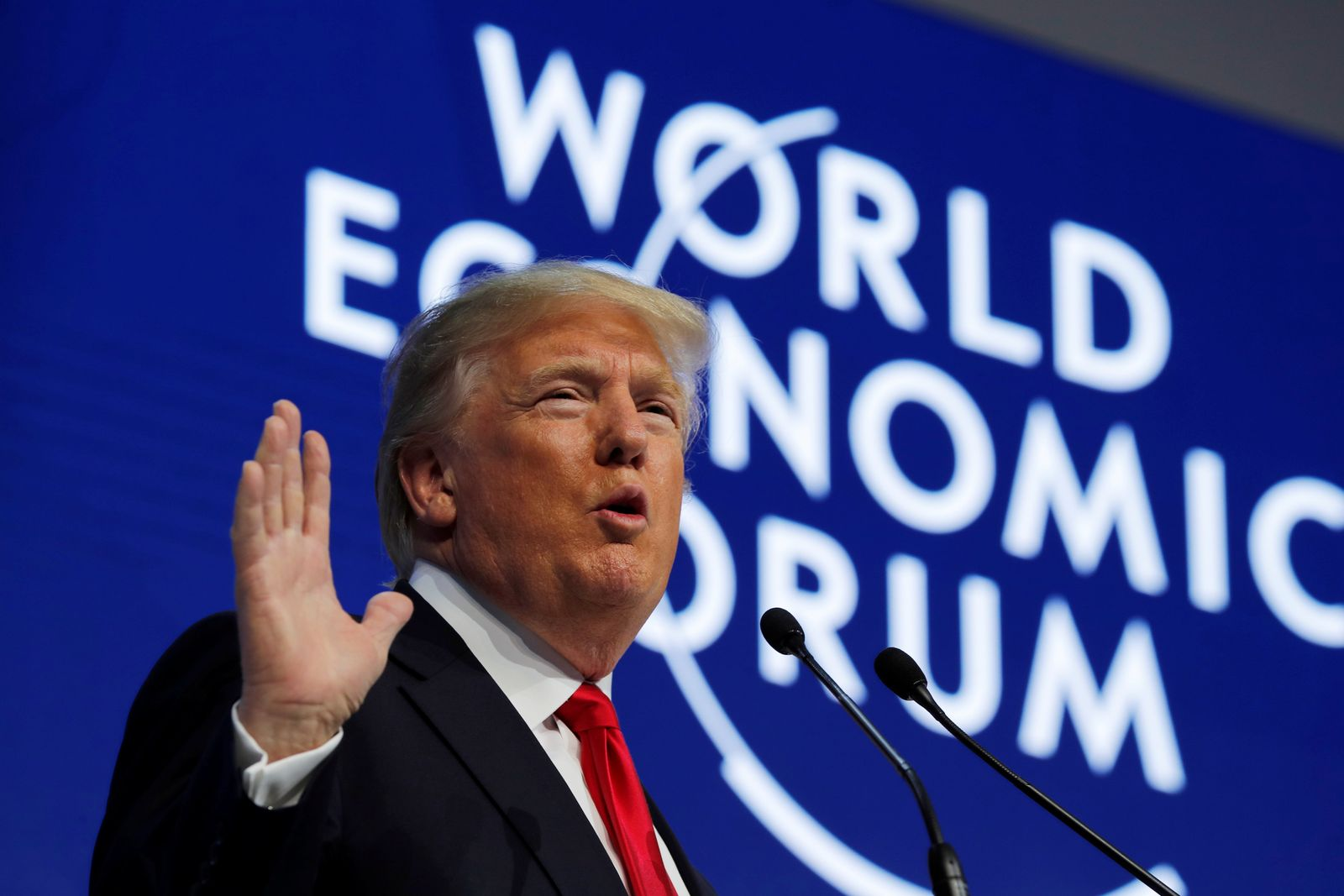 U.S. President Trump speaks at the World Economic Forum annual meeting in Davos