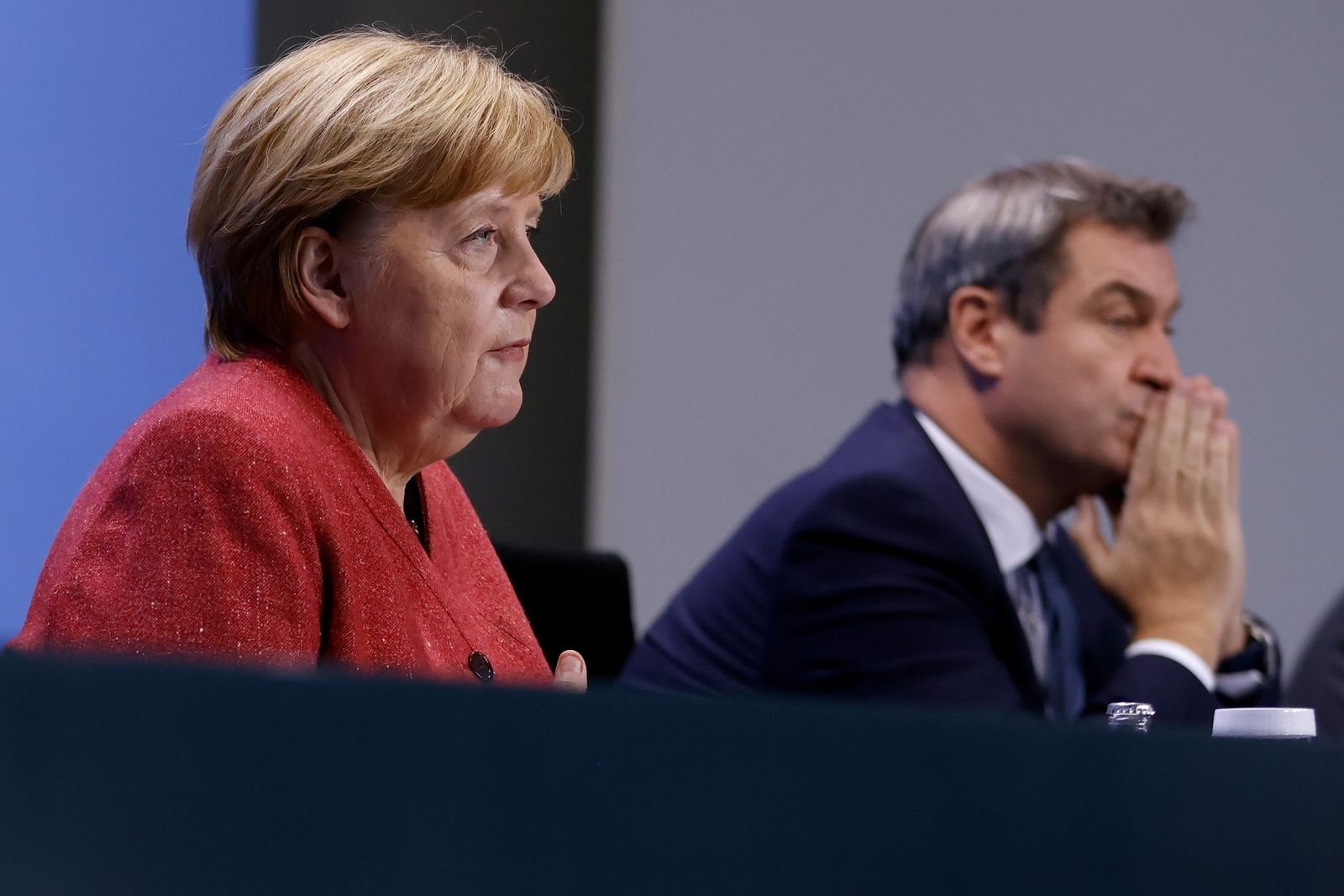 German Chancellor Angela Merkel attends a news conference on COVID-19 in Berlin