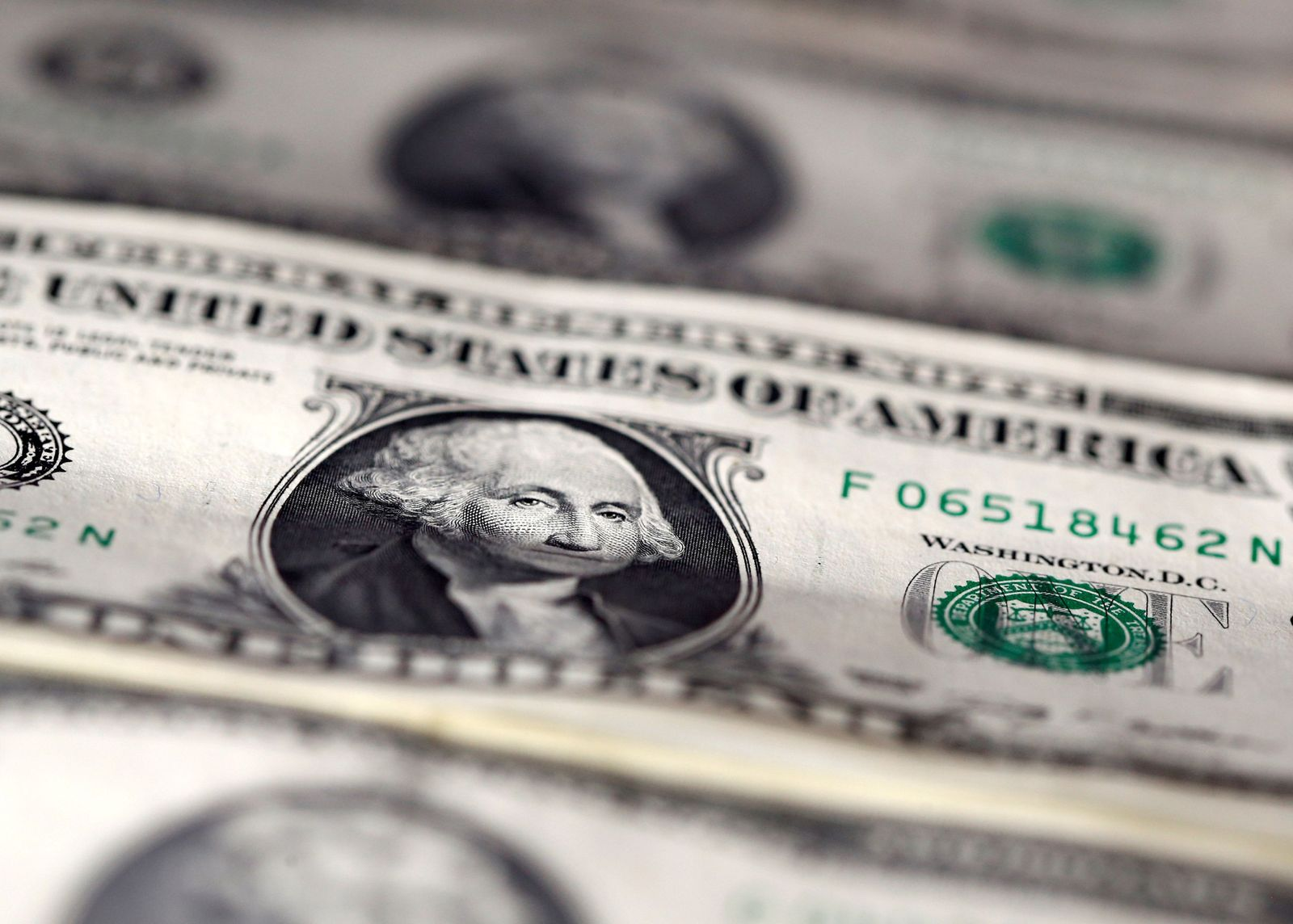 U.S. dollar notes are seen in this picture illustration