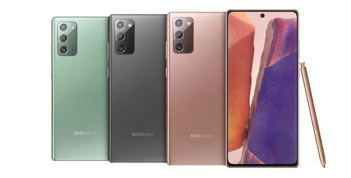 Die verschiedenen Farben, in denen Samsung das Galaxy Note 20 anbietet