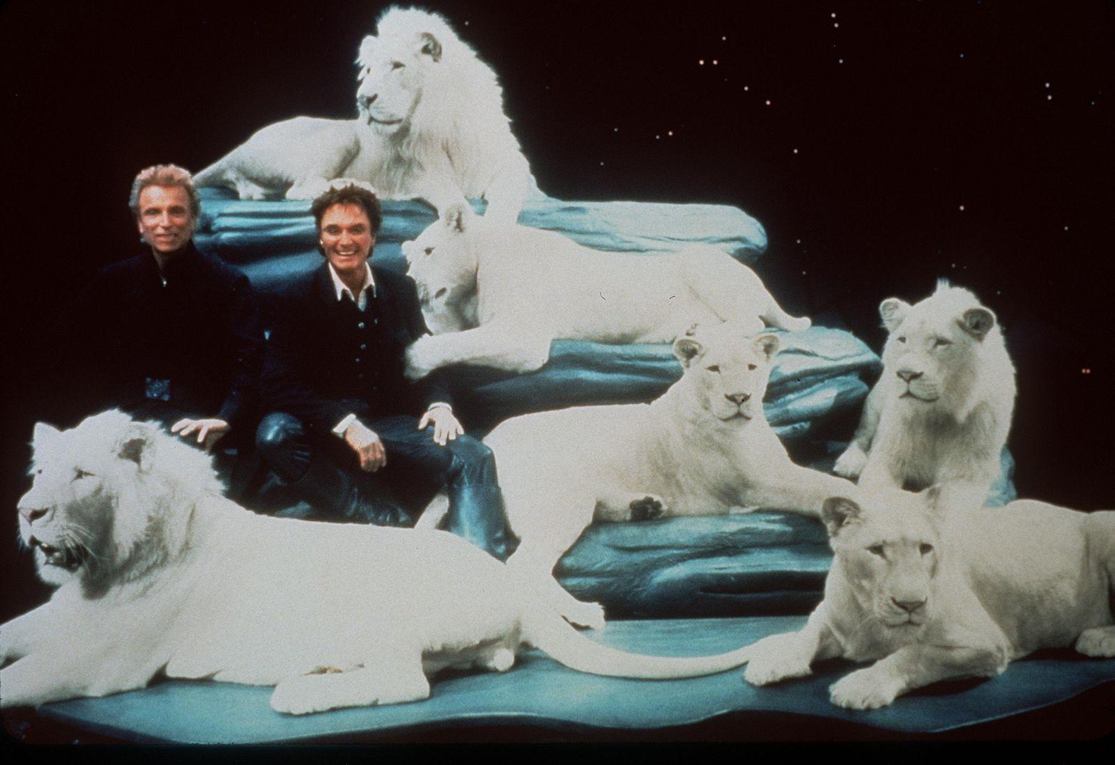 Siegfried & Roy With Their White Lions Stage Set Pf Thier Las Vegas Show Siegfried