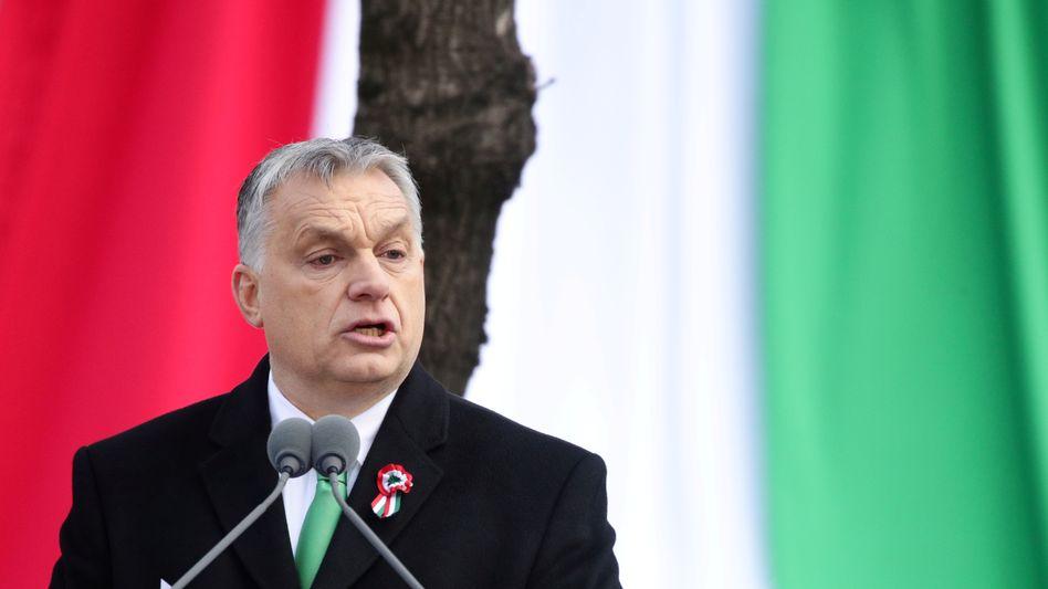 Viktor Orbán bei seiner Rede zum Nationalfeiertag
