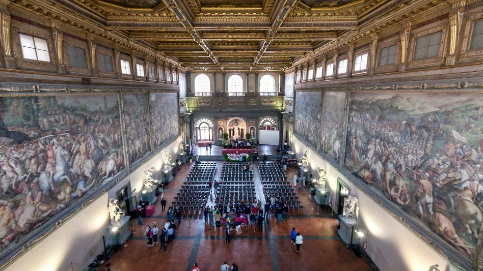 Der Salone dei Cinquecento im Palazzo Vecchio in Florenz: Hier gibt es wohl kein Fresko von Leonardo da Vinci