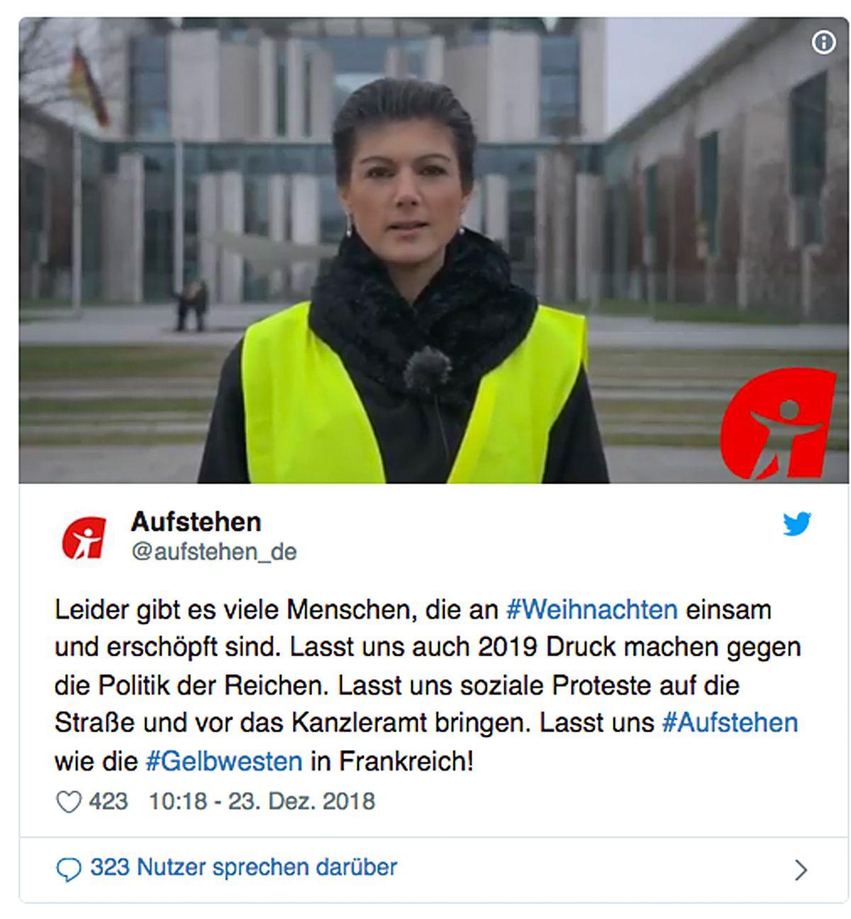 NUR ALS ZITAT/ Aufstehen/ Wagenknecht/ Gelbwesten