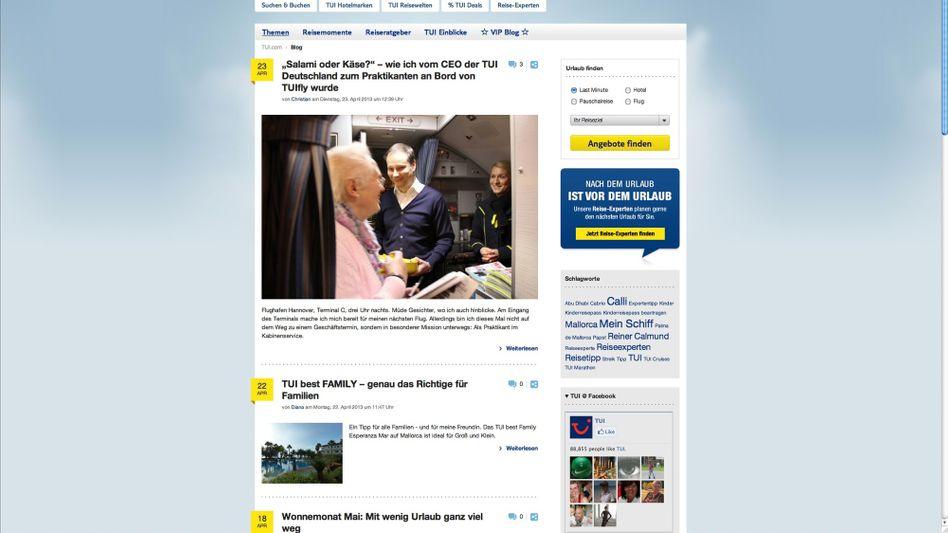 TUI-Blog: Hoffnung auf mehr Online-Buchungen