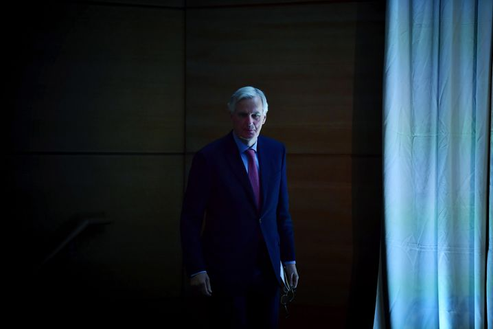 The EU's chief Brexit negotiator, Michel Barnier, arrives at the All-Island Civic Dialogue on Brexit meeting on April 30, 2018, in Dundalk, Ireland.