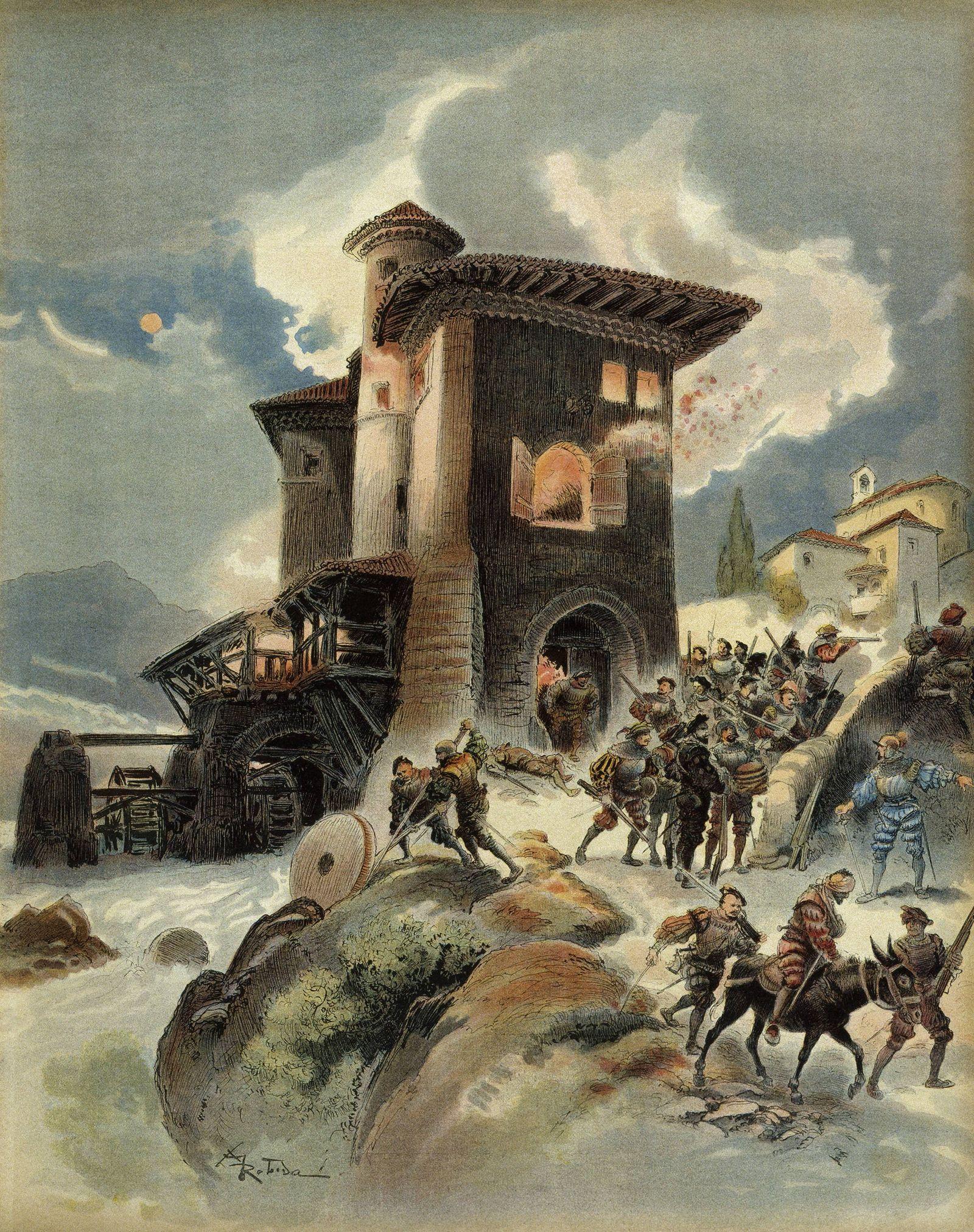 C17415 Albert Robida 1848 1926 Blaise de Montluc seizes the mills of Auriol and kills the imper