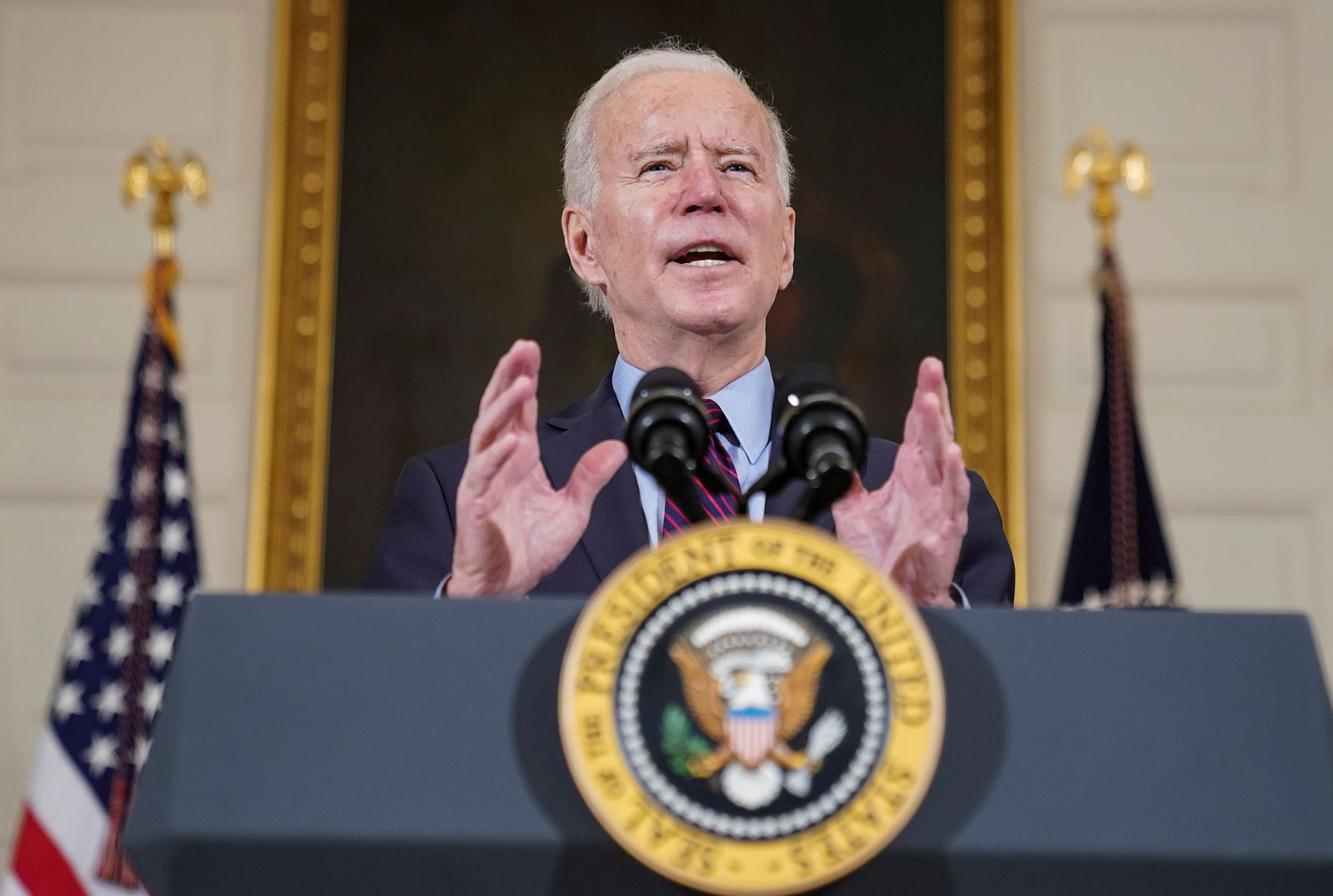 FILE PHOTO: U.S. President Biden speaks about the economy and need to pass coronavirus aid legislation at the White House in Washington