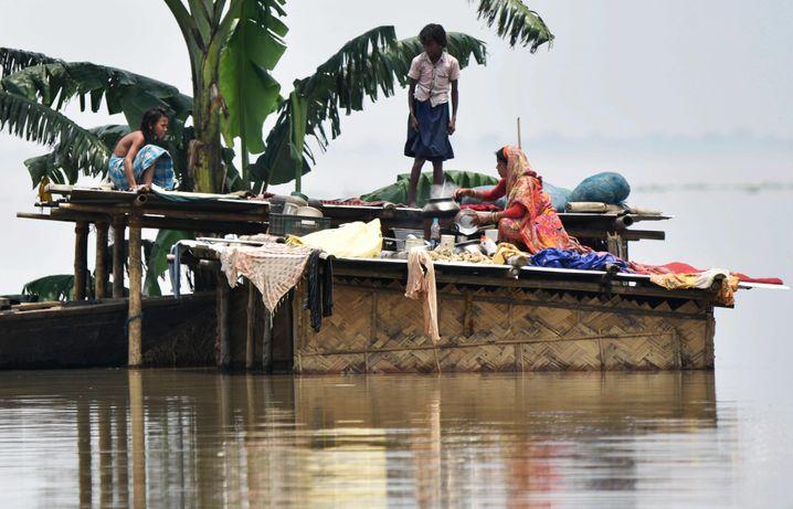 Auch die indische Region Assam ist von Überflutungen betroffen