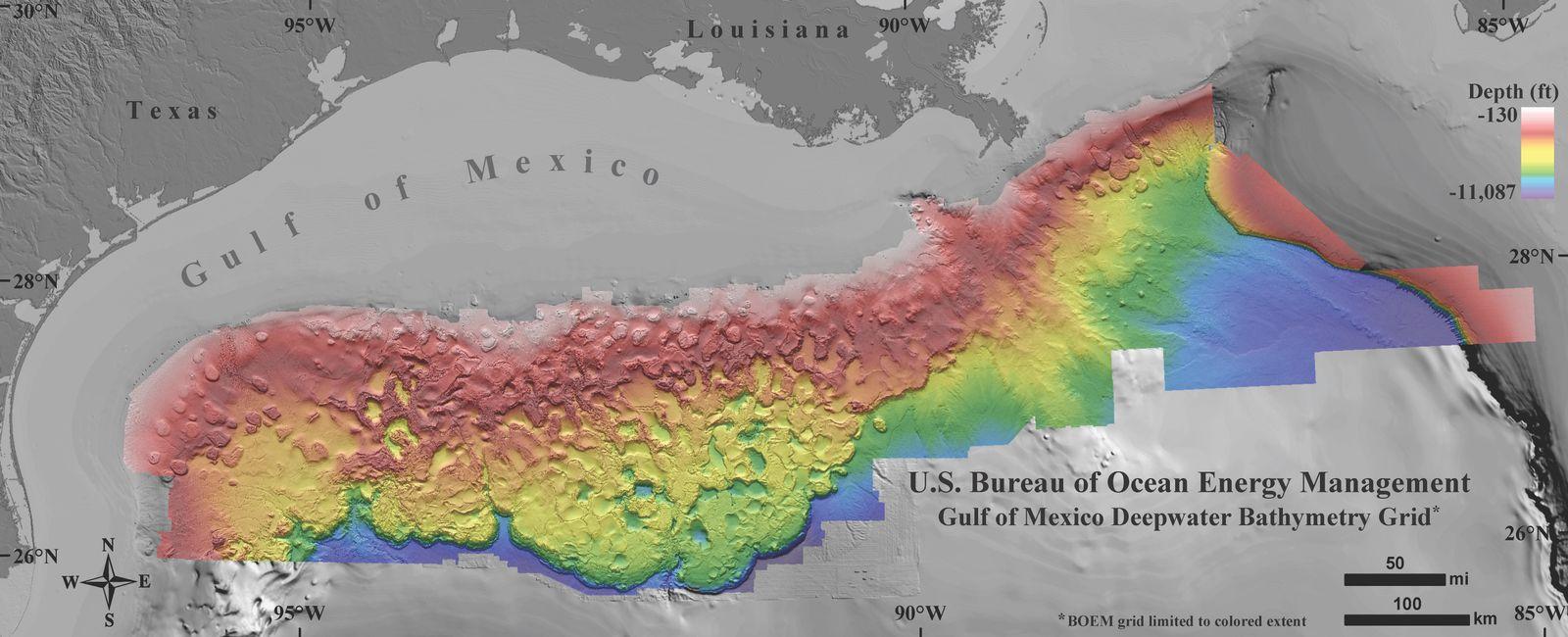 EINMALIGE VERWENDUNG Golf von Mexiko/ Tiefenmessung/ Grafik/ nah