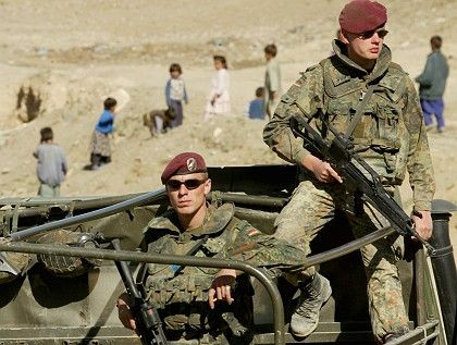 German troops in Kabul. NATO has formally requested that Berlin send combat troops to northern Afghanistan.