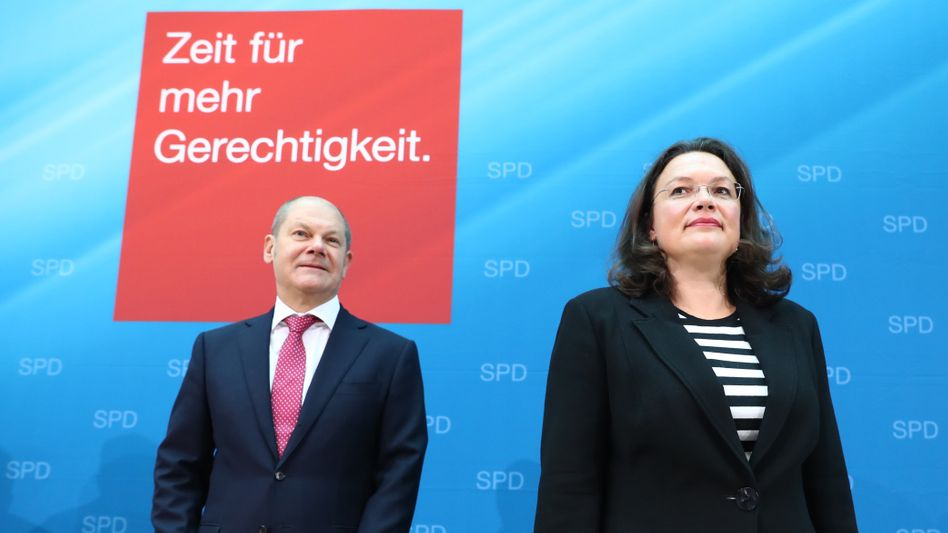 Olaf Scholz und Andrea Nahles (Foto von 2017) – damals war er Hamburgs Erster Bürgermeister, sie Bundesarbeitsministerin