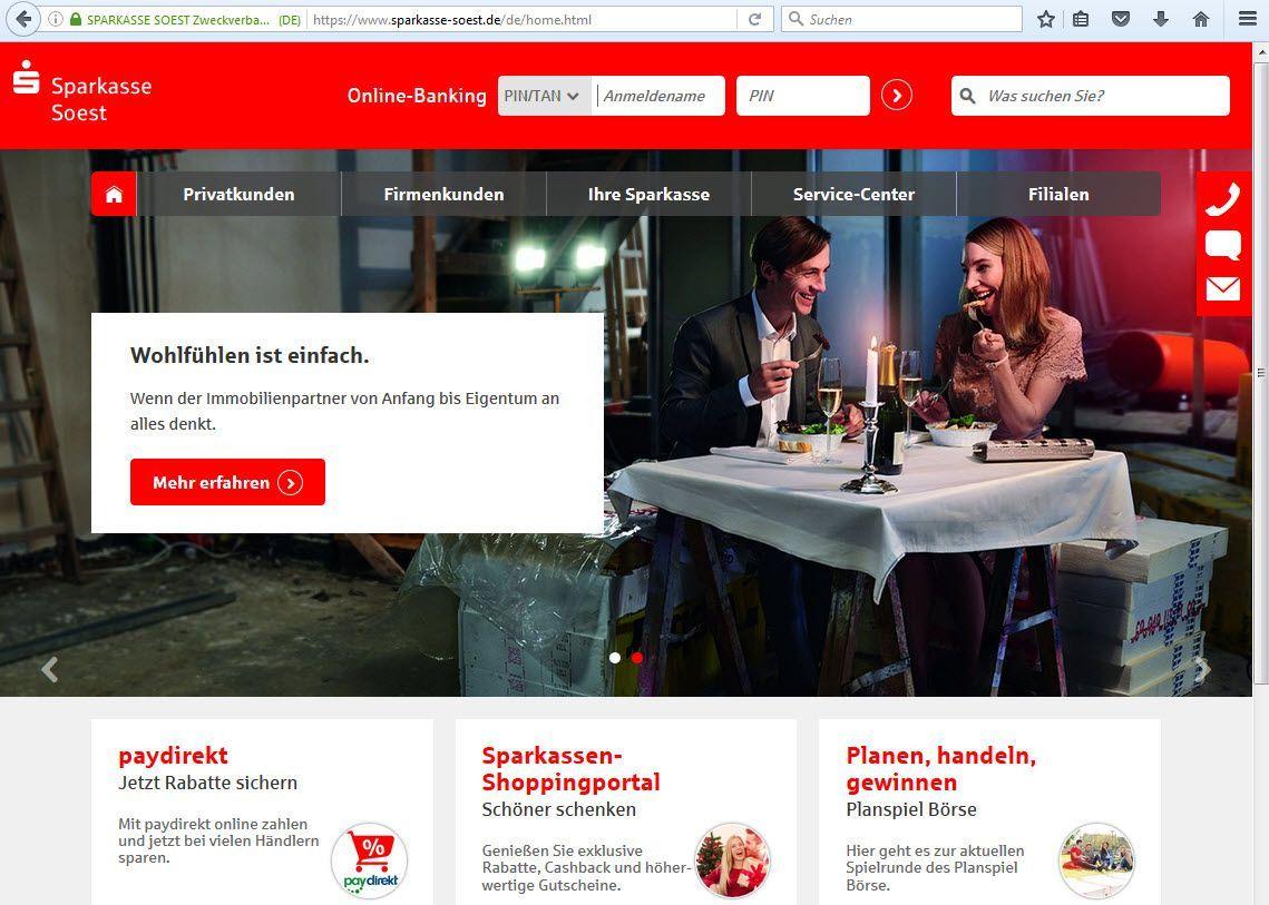 EINMALIGE VERWENDUNG NUR ALS ZITAT Sparkasse Soest Online Screenshot