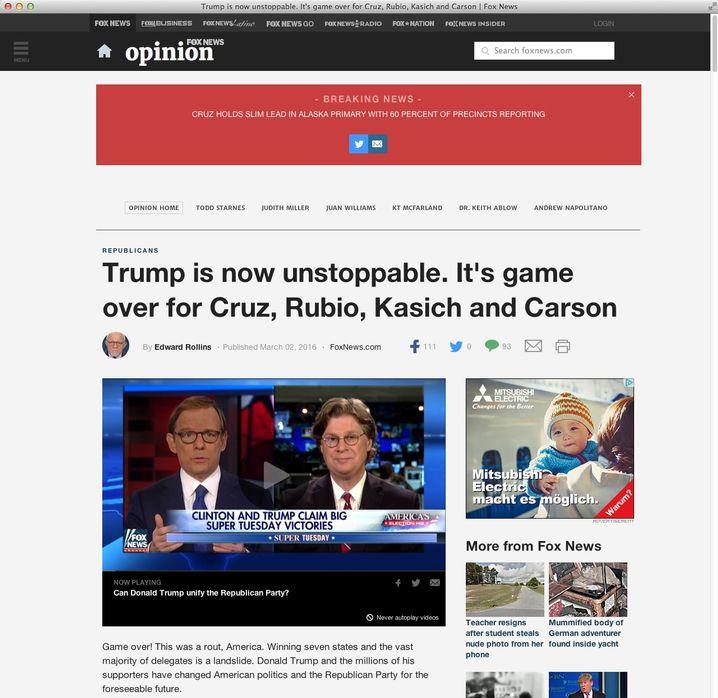 Screenshot von Fox News
