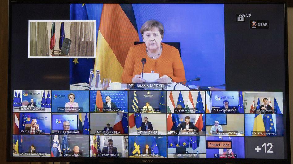 EU-Videokonferenz mit Bundeskanzlerin Merkel im Juni: Aus heutiger Sicht beinah größenwahnsinniges Programm