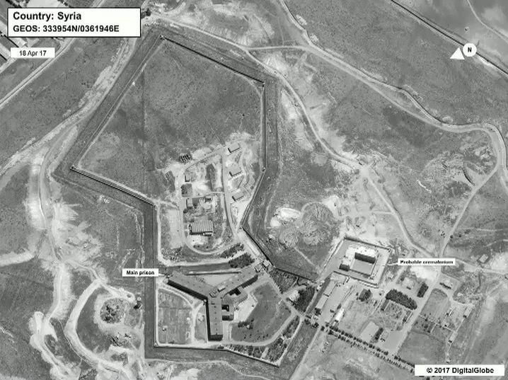 Aufnahme von Gefängniskomplex in Sednaja vom April 2017 (angebliches Krematorium bei rechter Markierung)