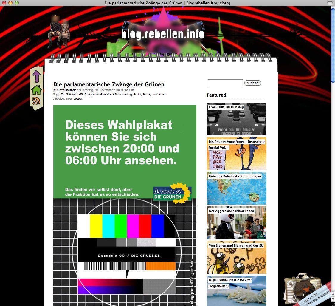 SCREENSHOT Blog Rebellen Info / Netzwelt