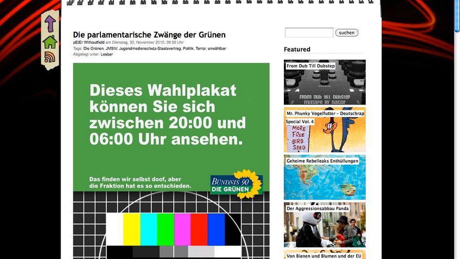 """Satire-Wahlplakat von """"Pantoffelpunk"""" (hier bei """"blog.rebellen""""): Sendezeiten fürs Internet?"""