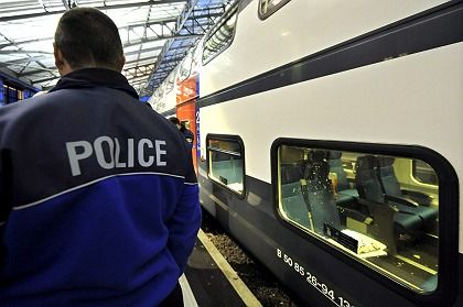 The Intercity train is seen in Lausanne station after it had been evacuated.