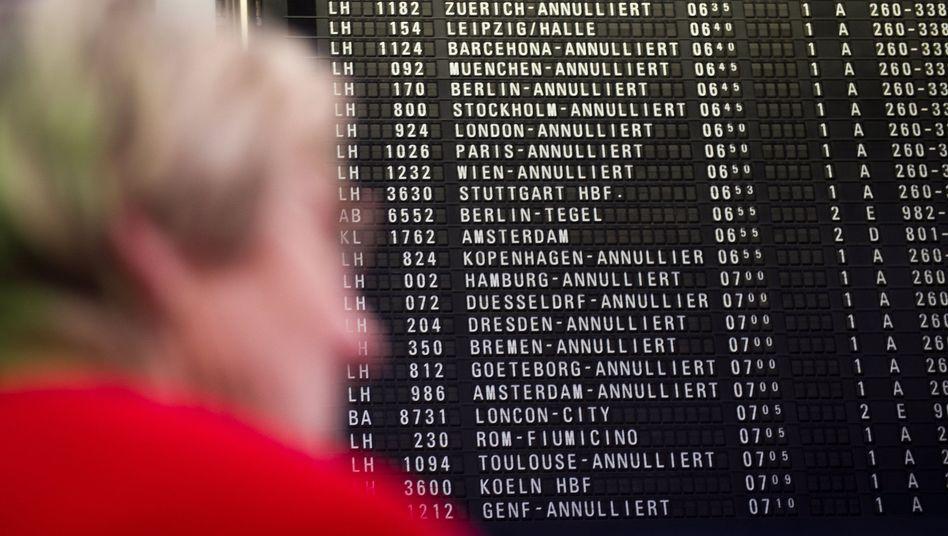 Anzeigetafel für Abflüge in Frankfurt am Main:
