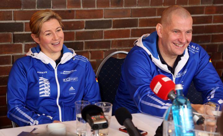 Claudia Pechstein und Lebensgefährte Matthias Große im Januar 2018