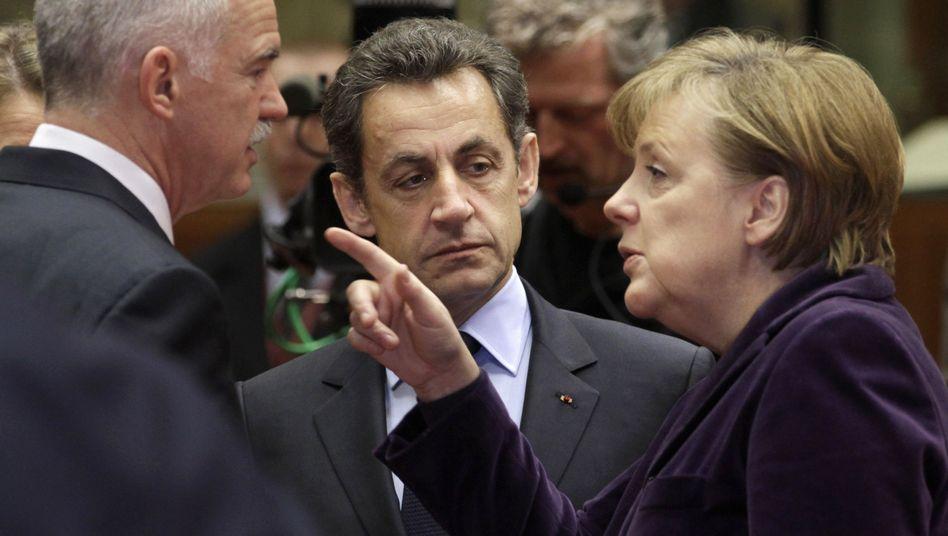 Merkel, Sarkozy, Papandreou (im Februar in Brüssel): Rapport an der Riviera