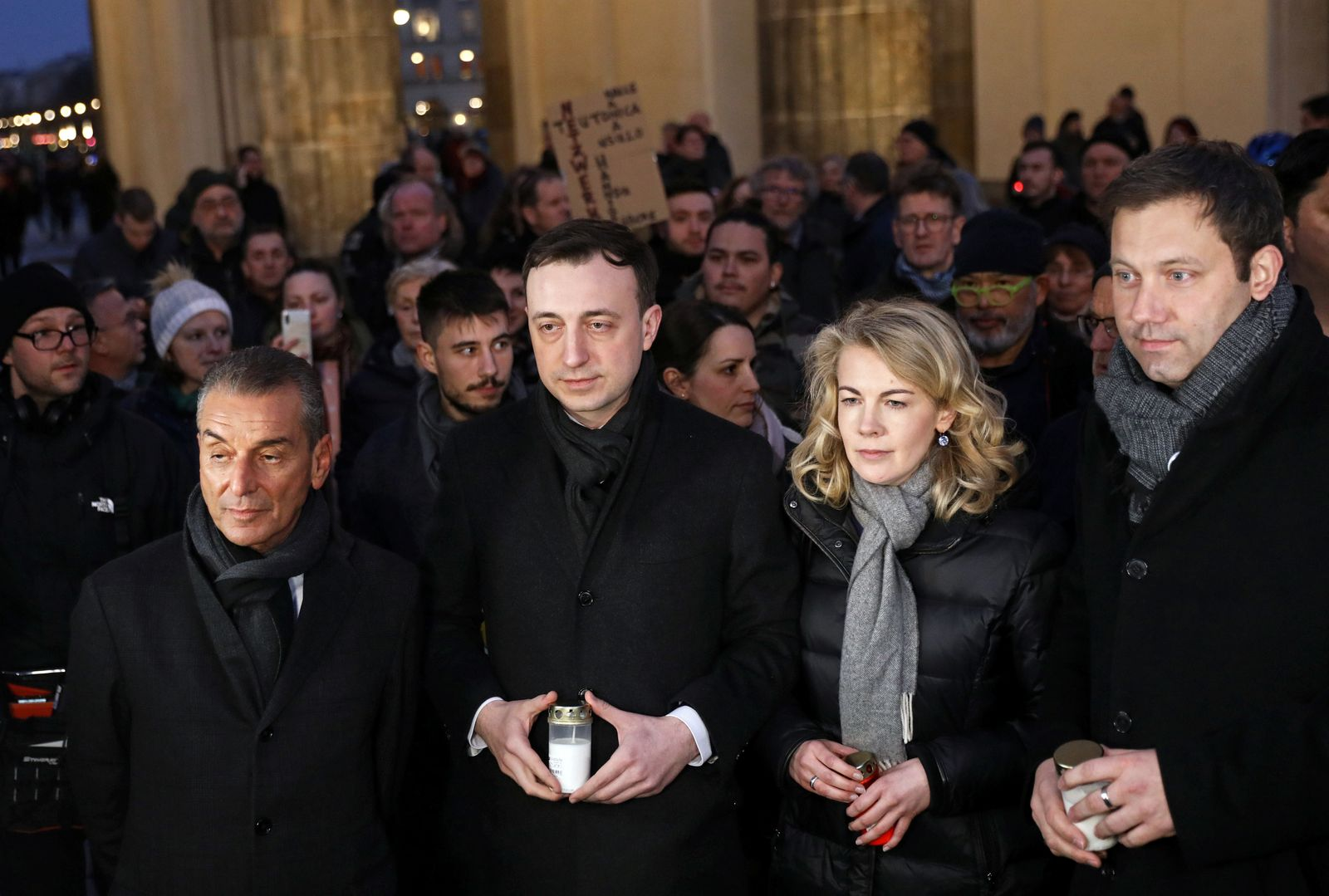 Vigil in Berlin for the victims of a shooting in the city of Hanau