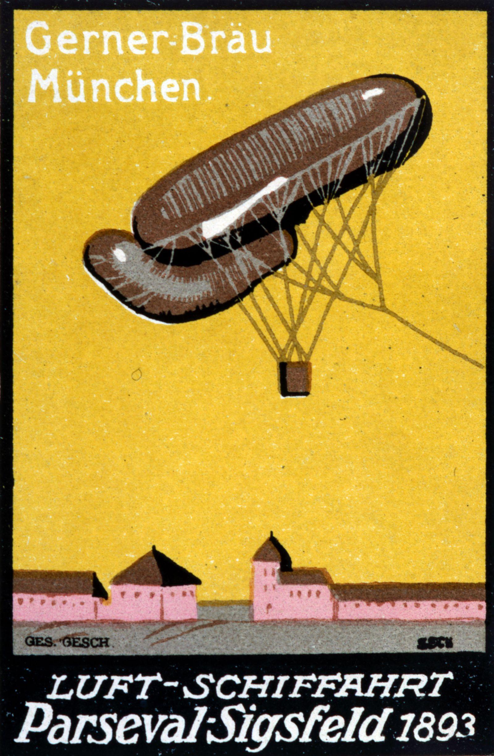 Aerostation Gerner-Brau, Munchen. Luft-Schiffahrt Parseval-Sigsfeld 1893 . Carte postale allemande representant un dirig
