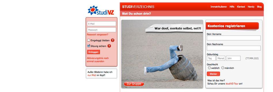 StudiVZ-Screenshot: Unternehmen will sich Montag erklären