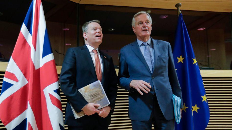 Brexit-Chefunterhändler David Frost und Michel Barnier: Die Briten wollen ein Abkommen nach dem Muster des EU-Kanada-Deals - und mehr.