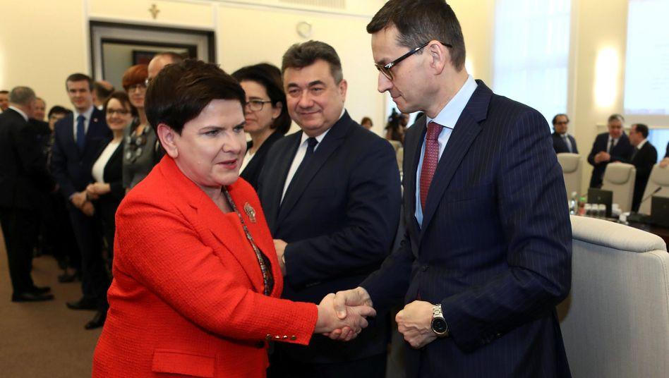 Polens Regierungschefin Beata Szydlo und Finanzminister Mateusz Morawiecki