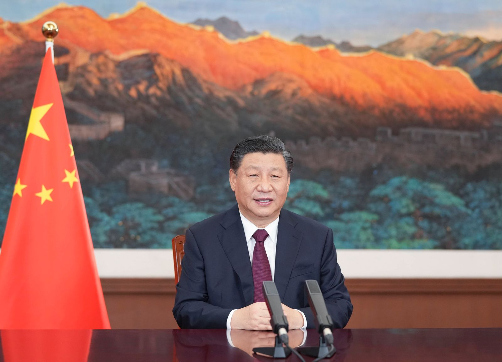 (210317) -- BEIJING, March 17, 2021 -- Chinese President Xi Jinping sends a video message to an event held by Bangladesh