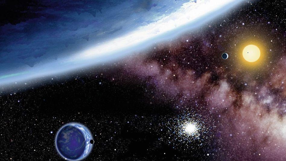 Wasserplaneten im System Kepler 62 (Illustration)