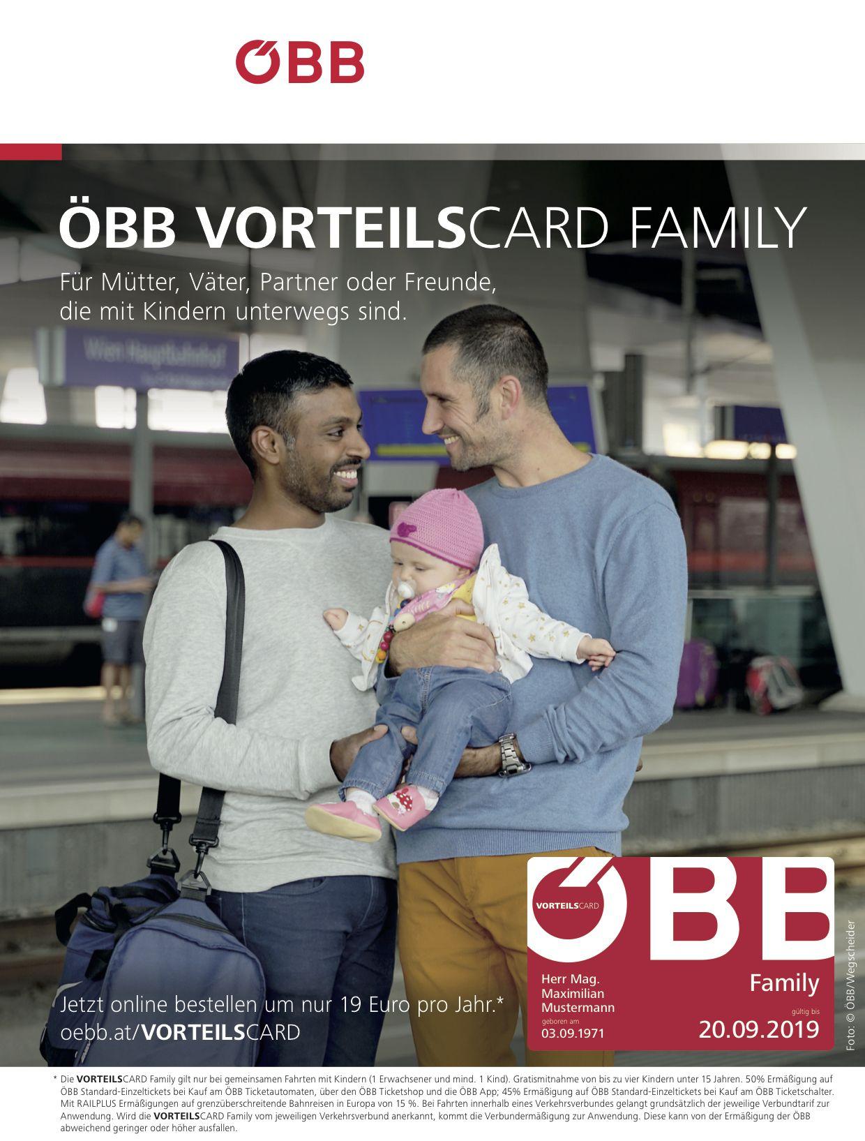 EINMALIGE VERWENDUNG ÖBB Vorteilscard Family / Werbeplakat