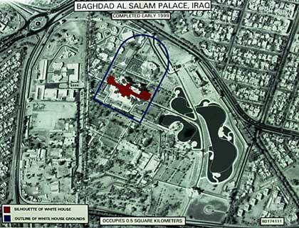 Satellitenaufmahme eines Präsidentenpalasts in Bagdad