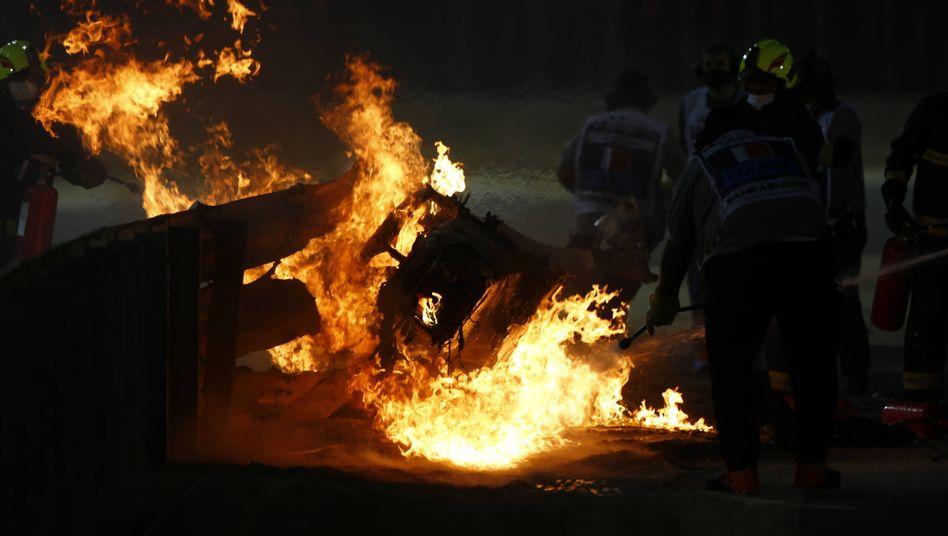 In Flammen: Grosjeans Formel-1-Wagen