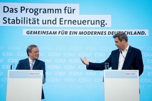 Laschet und Söder bei der Vorstellung des gemeinsamen Wahlprogramms