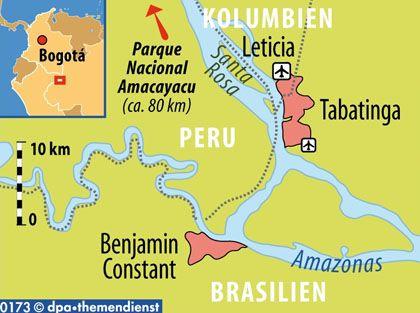 Dreiländereck: Von Leticia in Kolumbien und der brasilianischen Grenzstadt Tabatinga sind Ausflüge nach Peru möglich