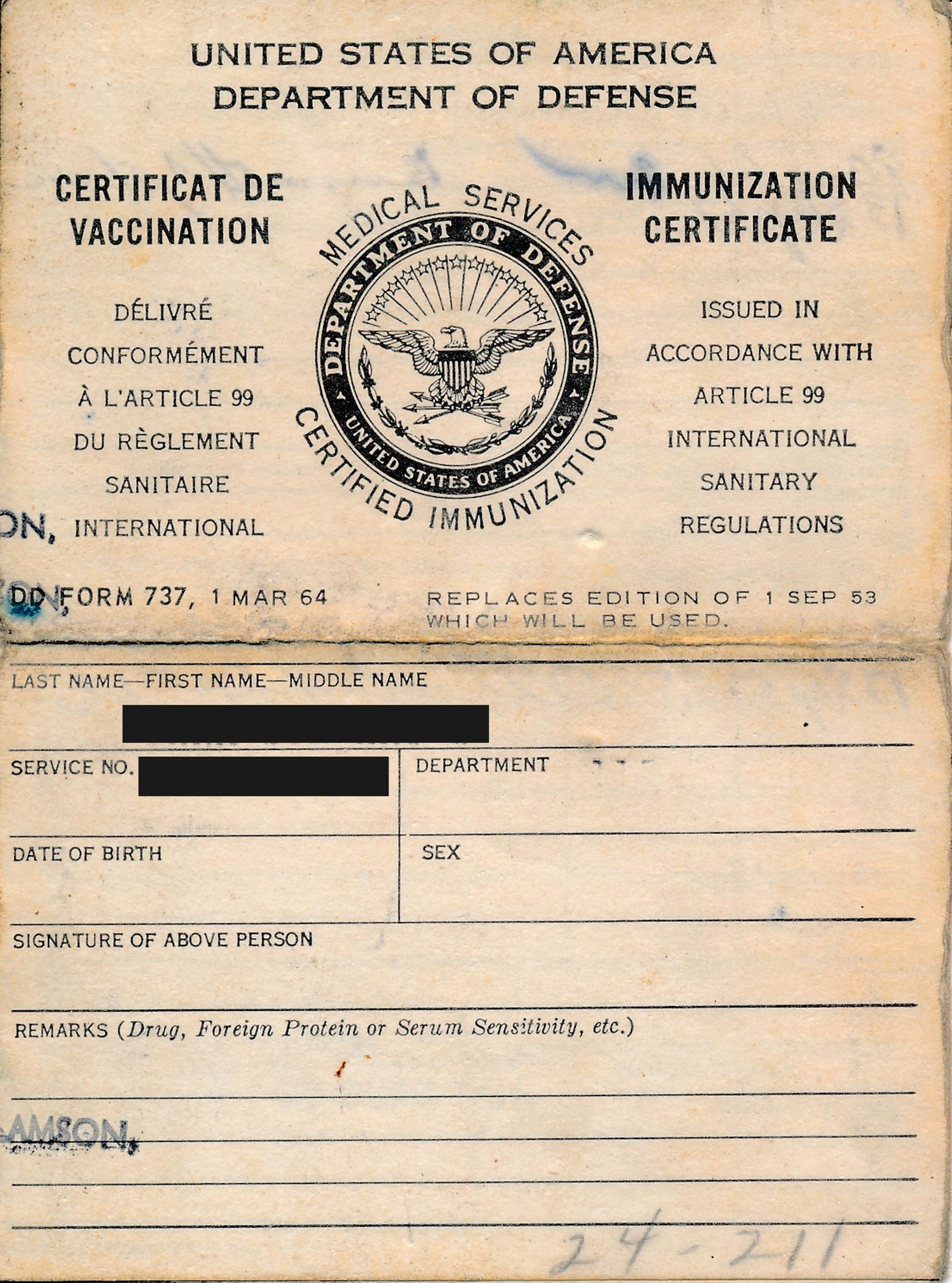 Immunization Certificate From US Department Of Defense
