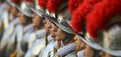 New recruits of the Vatican's elite Swiss Guard stand at the Vatican on Wednesday.