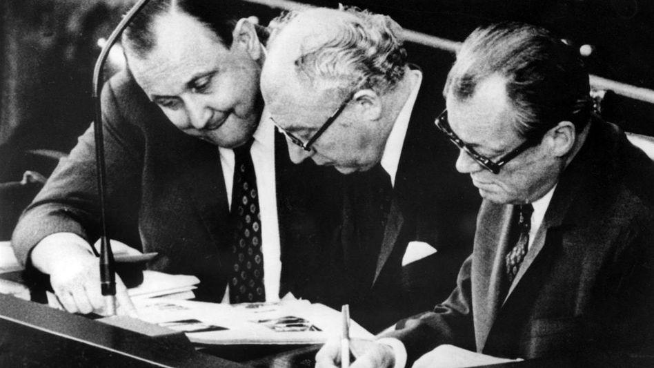 Politiker Genscher, Scheel, Brandt
