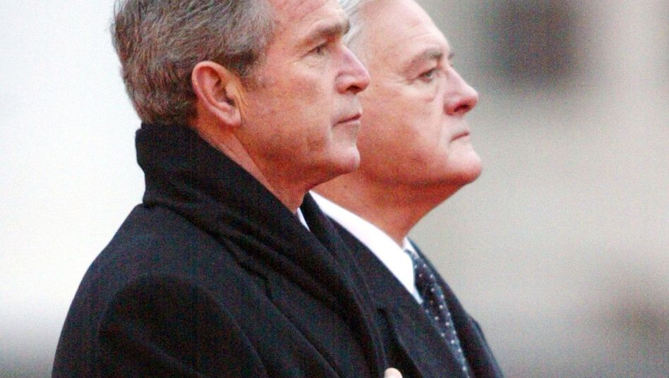 "Former US President George W. Bush with former Lithuanian President Valdas Adamkus in Vilnius in 2002: ""They were happy to have our ear."""