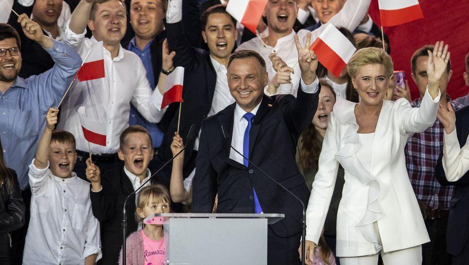 Präsident Andrzej Duda und seine Frau.